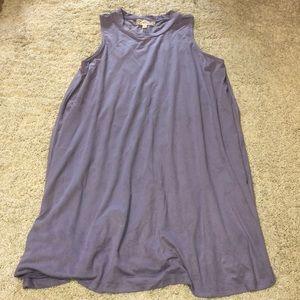 Purple suede texture high neck sheath dress